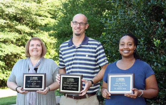 Jack Miller Award recipients included (l-r) Cordelia Zinskie, Ph.D.; Jonathan Hilpert, Ph.D.; and Sabrina Ross, Ph.D.