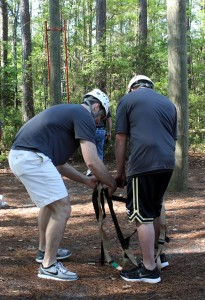 High schoolers went through Southern's Challenge Course before  touring the campus.